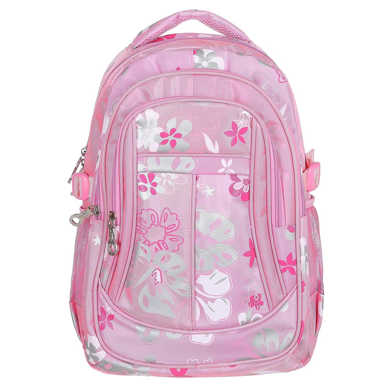 MGgear 16-Inch Girls Floral Print School Backpack Childrens Book Bag Pink MyGift TB-BAG0157PIK