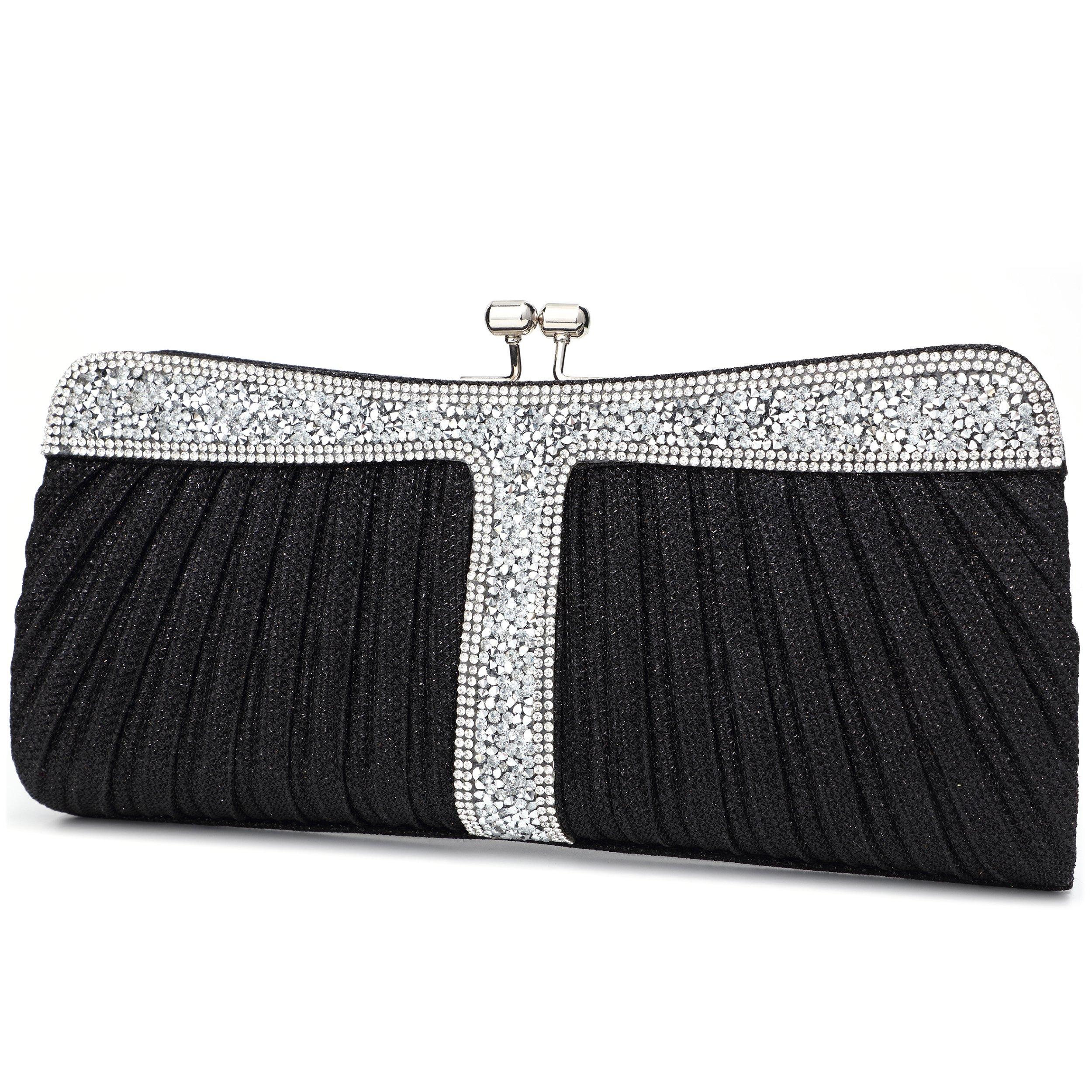 Yojoy Ladies Sparkling Rhinestone Wedding Evening Party Clutch Handbag Purse Chain Shoulder Crossbody Bag (Black)