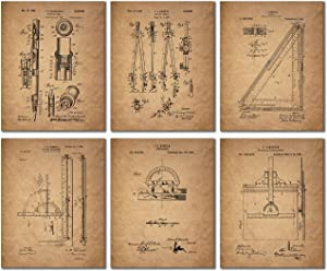 Architect Drafting Patent Prints - Set of 6 (8 inches x 10 inches) Drafting Wall Art Decor Photos
