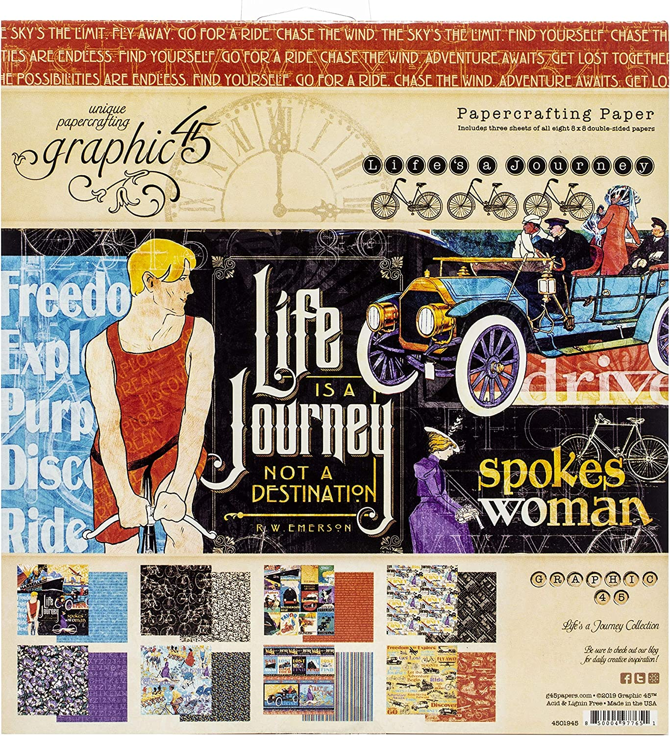Graphic 45 4501945 Paper 8X8 PAD, Life's Journey, 8 Designs/3 Each