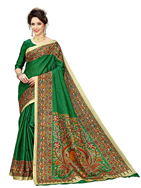 b0b01b32aa8c20 Indian Beauty Khadi Silk Saree with Blouse Piece (IB-1110_Green_Free):  Amazon.in: Clothing & Accessories