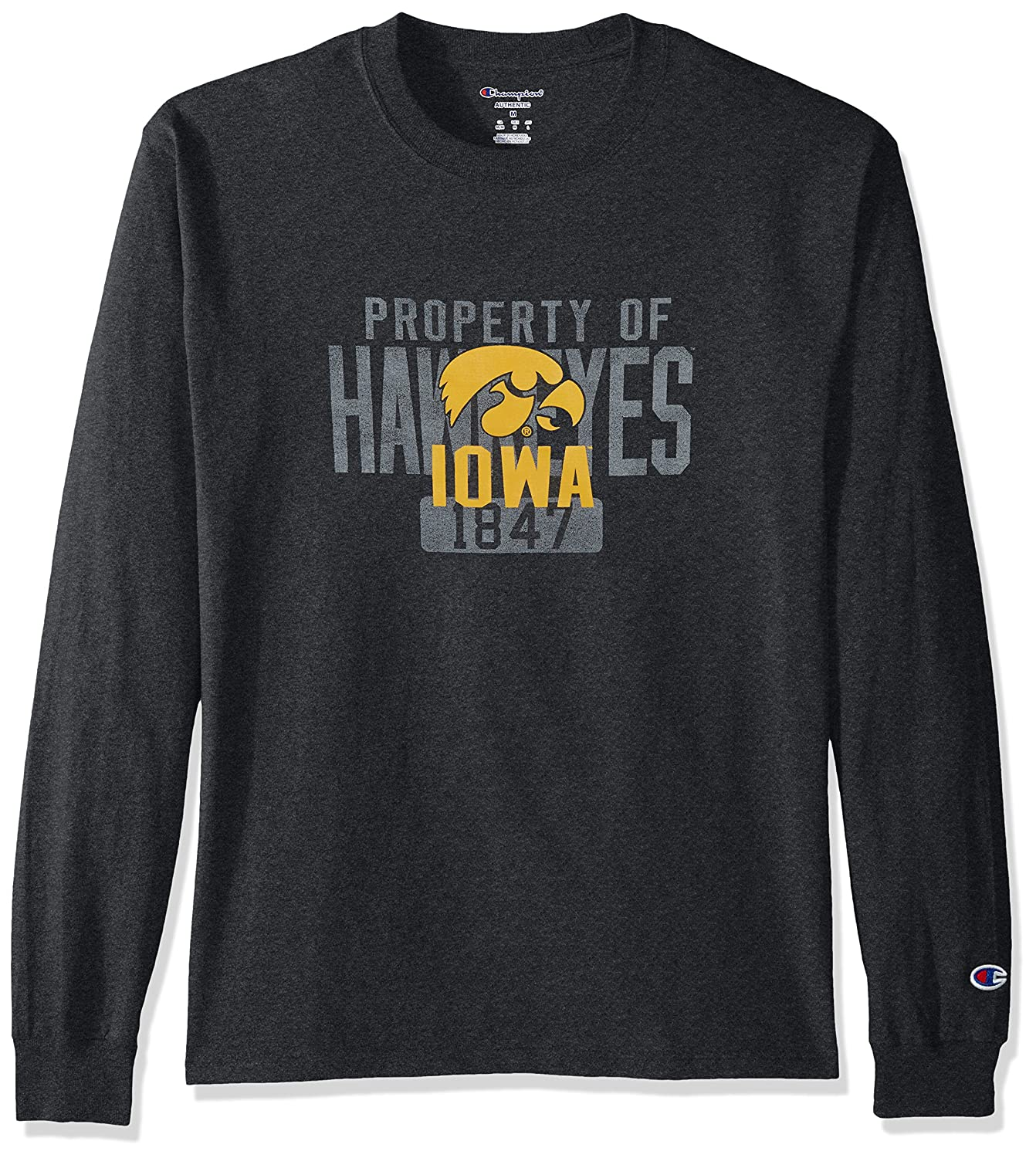 Champion NCAA Mens Long Sleeve Lightweight T-shirt Officially Licensed 100/% Cotton Tagless Tee Iowa Hawkeyes X-Large
