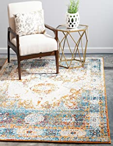 Unique Loom Rosso Collection Vintage Traditional Distressed Beige Area Rug (5' 0 x 8' 0)