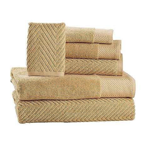amazon com isabella cromwell 6 piece cotton bath towels set 2