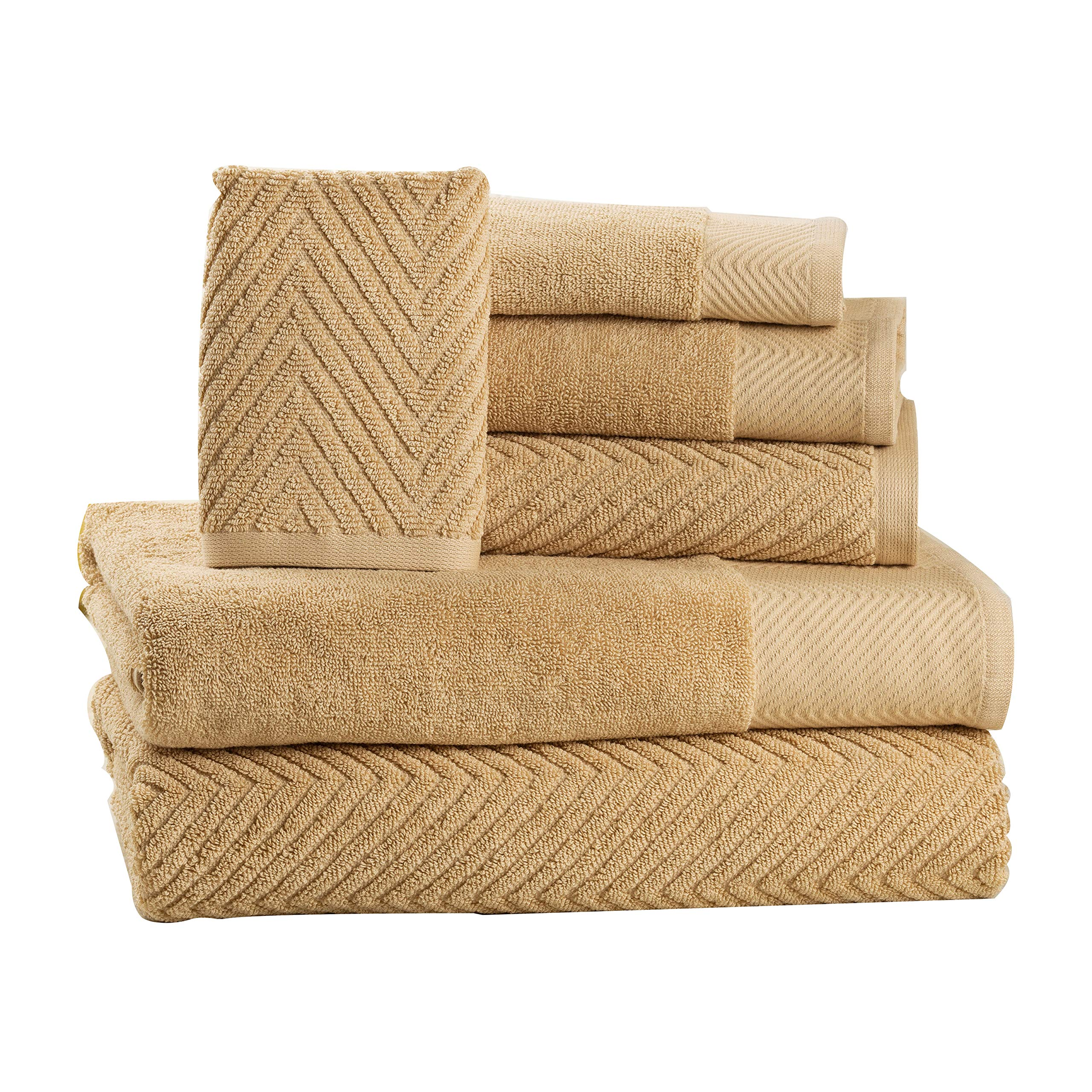ISABELLA CROMWELL 6 Piece Cotton Bath Towels Set - 2 Bath Towels, 2 Hand Towels, 2 Washcloths Machine Washable Super Absorbent Hotel Spa Quality Luxury Towel Gift Sets Chevron Towel Set - Beige