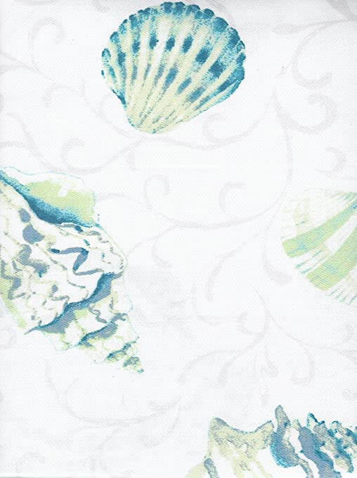 Coastal Collection Shower Curtain Ombre Teal Ocean Shells
