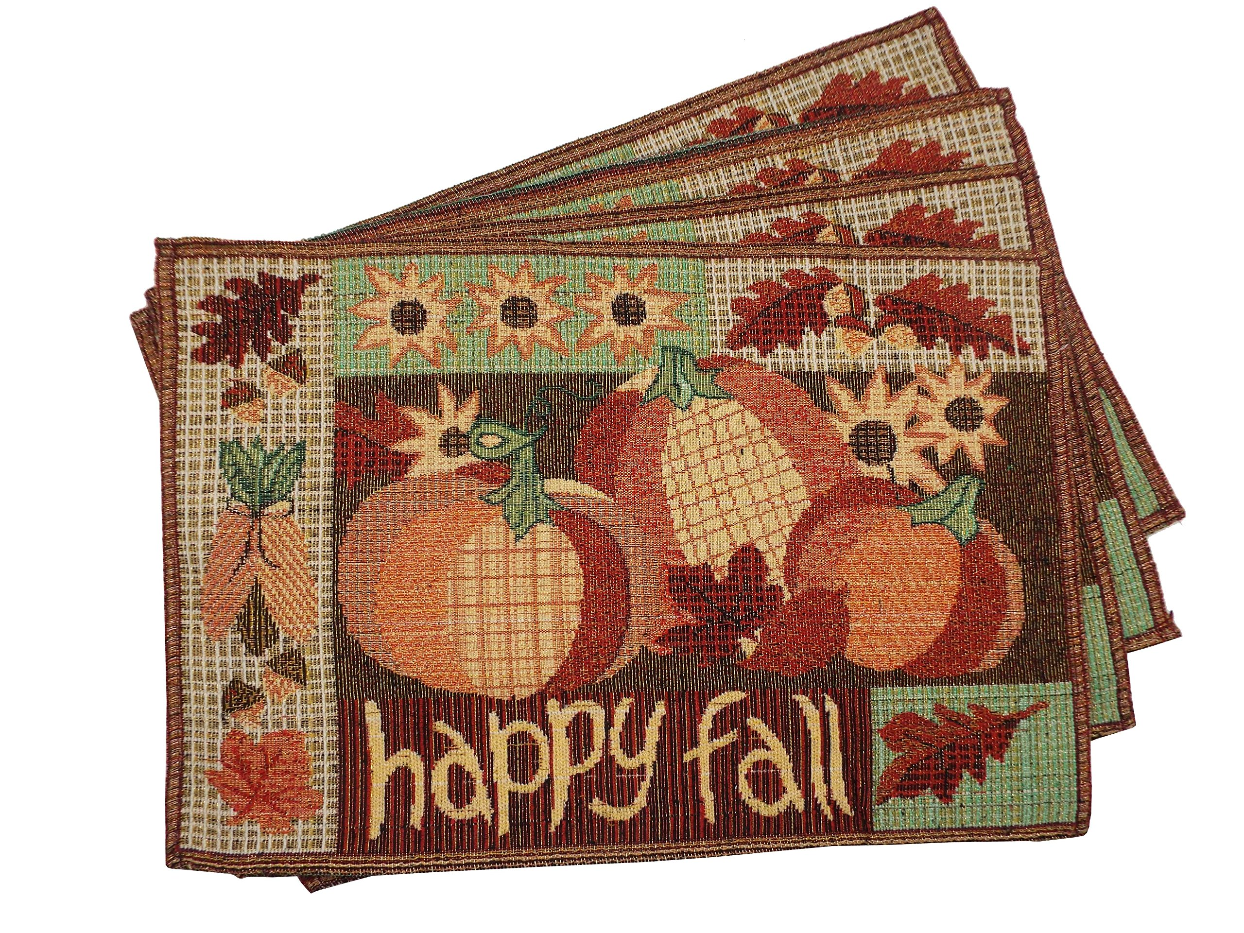 ''Happy Fall'' Pumpkin Placemats - Set of 4 - 13 x19 Inches
