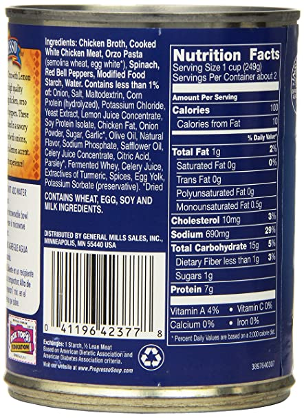 Amazon.com : Progresso Soup, Traditional, Chicken and Orzo with Lemon Soup, 18.5 oz Cans (Pack of 6) : Packaged Vegetable Soups : Grocery & Gourmet Food
