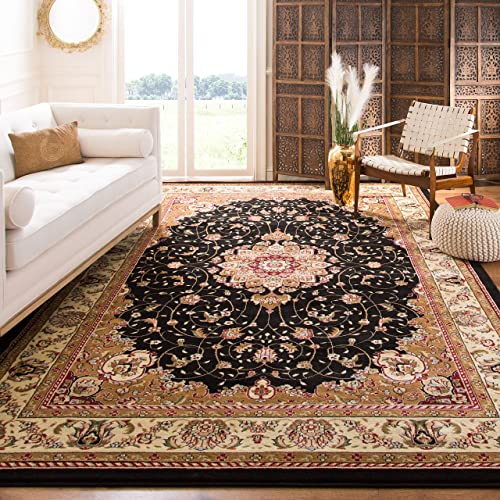 Safavieh Lyndhurst Collection LNH329A Traditional Medallion Black and Ivory Area Rug 8 x 11