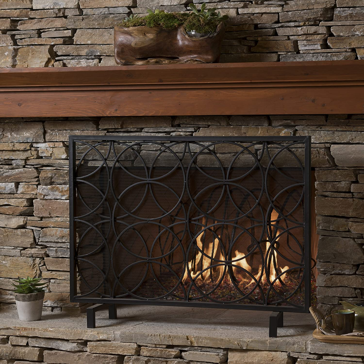 Veritas Single Panel Black Iron Fireplace Screen GDF Studio