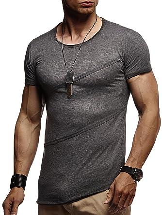 LEIF NELSON Herren Männer T-Shirt Hoodie Sweatshirt Crew Neck Rundhals  Ausschnitt Kurzarm Longsleeve modern