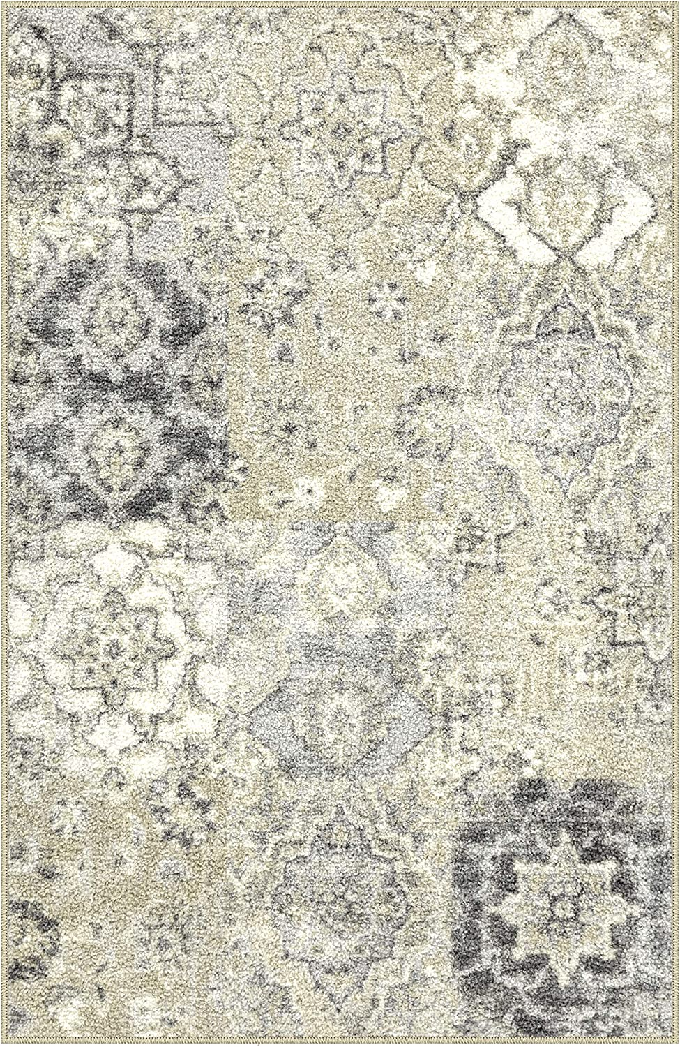 Maples Rugs Kitchen Rugs - Vintage Patchwork 2'6 x 3'10 Non Skid Washable Throw Rugs [Made in USA] for Entryway and Bedroom, Grey