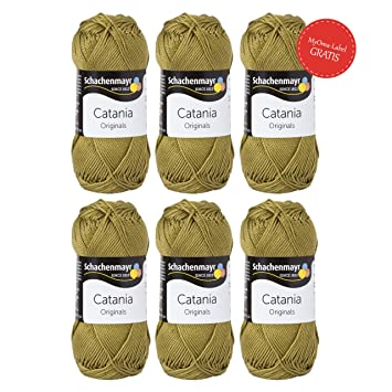 Catania Schachenmayr 6 Knauel Catania Wolle Olive Fb 395 Mit