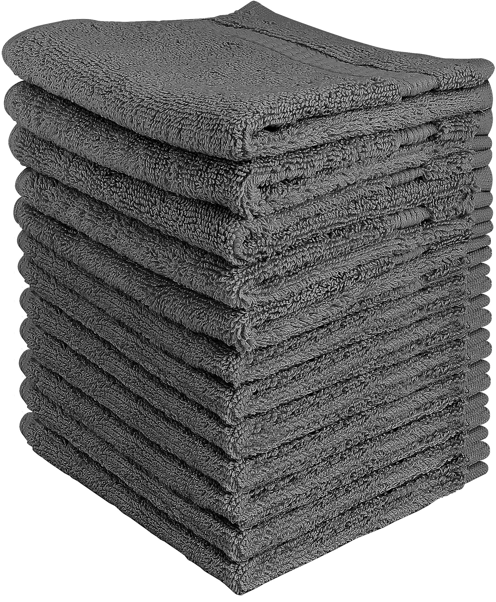 Utopia Towels Luxury Cotton Washcloth Towel Set (12 Pack, Grey, 12 x 12 Inches) Multi-purpose Extra Soft Fingertip Towels, Highly Absorbent Face Cloths, Machine Washable Sport and Workout Towels by Utopia Towels