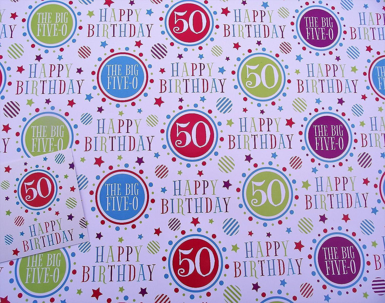 2fogli di carta regalo 50–50th Fifty & 1etichetta regalo BGC