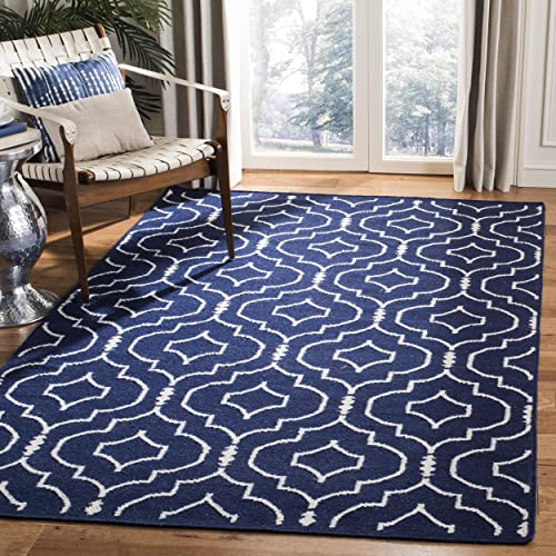 Safavieh Dhurries Collection DHU637D Hand Woven Navy and Ivory Premium Wool Area Rug 3 x 5