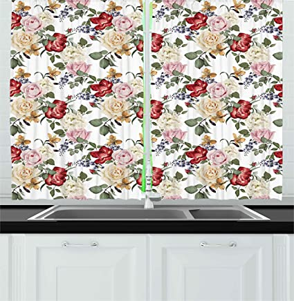 Ambesonne Shabby Chic Kitchen Curtains, Summer Spring Season Buds Roses  Lilacs Flowers Leaves Print, Window Drapes 2 Panels Set for Kitchen Cafe,  55 ...