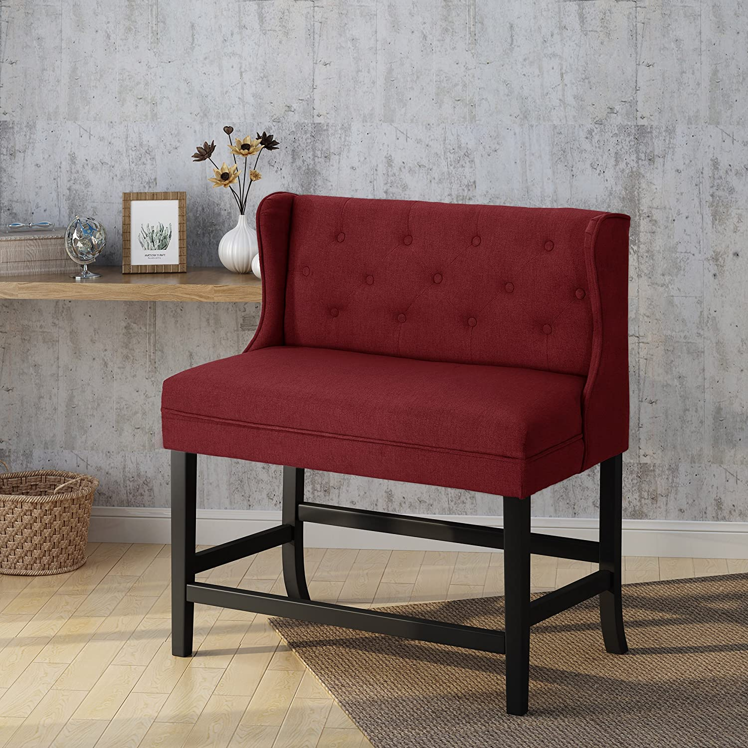 Deep Red Dark Brown Christopher Knight Home 304380 Paulina Winged Tufted Fabric 2 Seater 28 Barstool