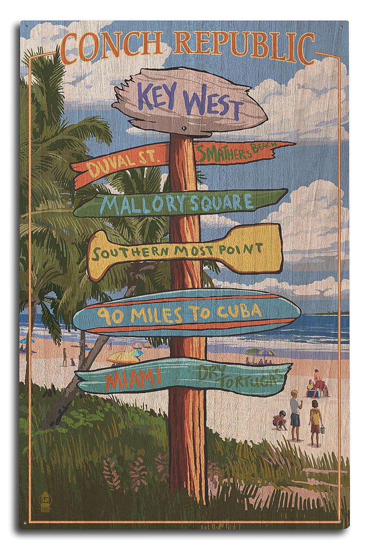 キーWest , Florida – Conch Republic Destination Signs 10 x 15 Wood Sign LANT-46964-10x15W B073693GSS 10 x 15 Wood Sign
