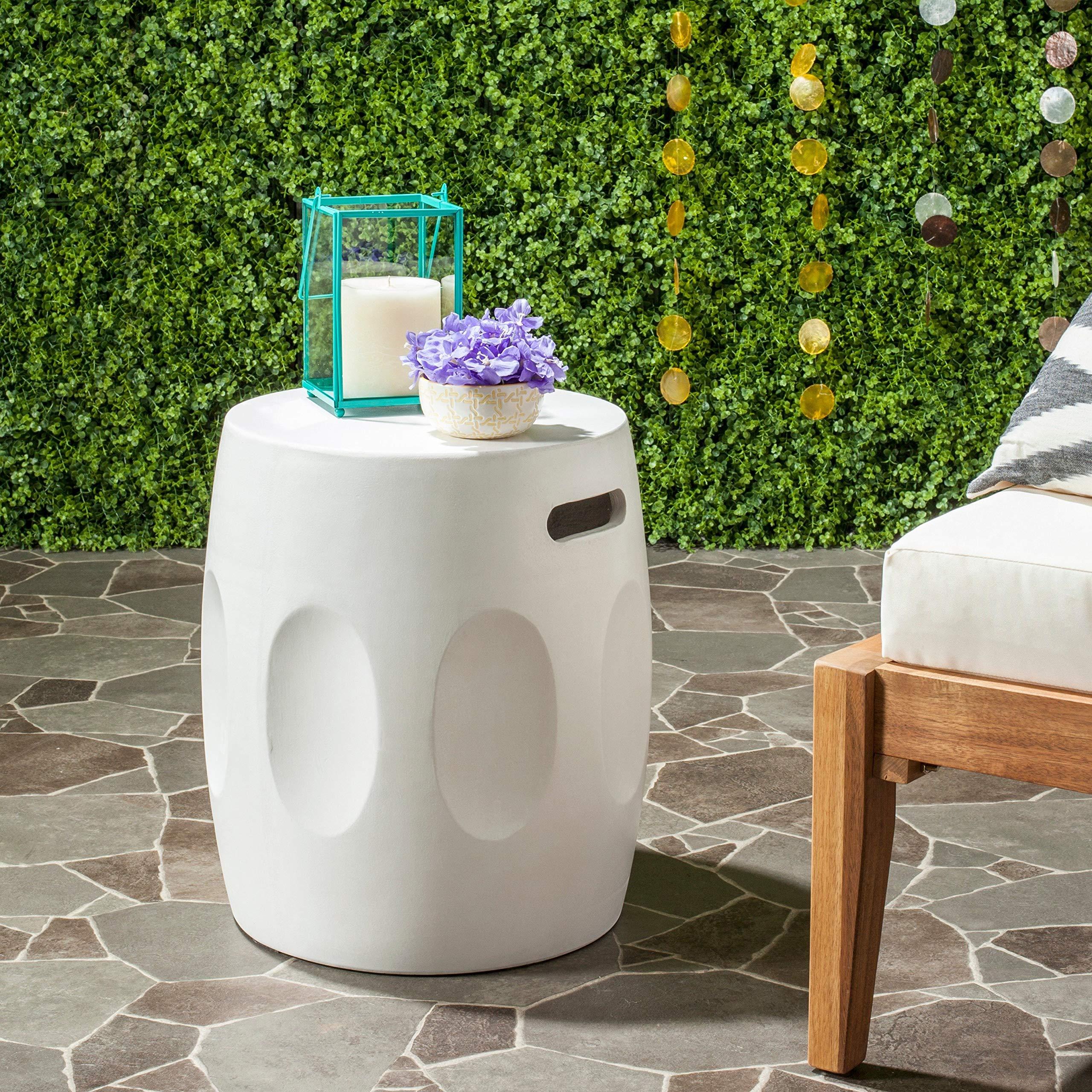 Safavieh Outdoor Collection Zuri Modern Concrete Ivory Round 17.7-inch Accent Table