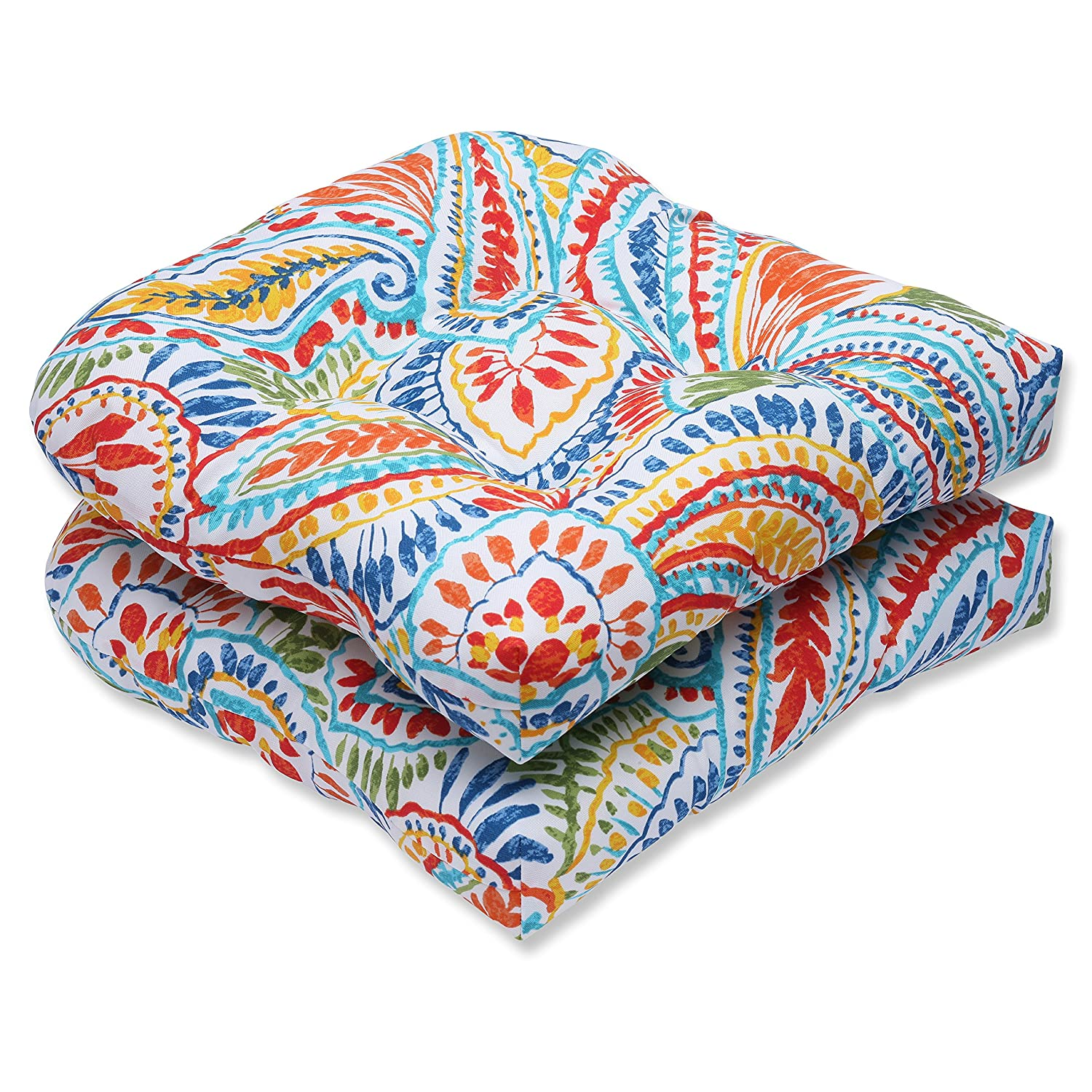 Pillow Perfect Outdoor Ummi Wicker Seat Cushion, Multicolored, Set of 2