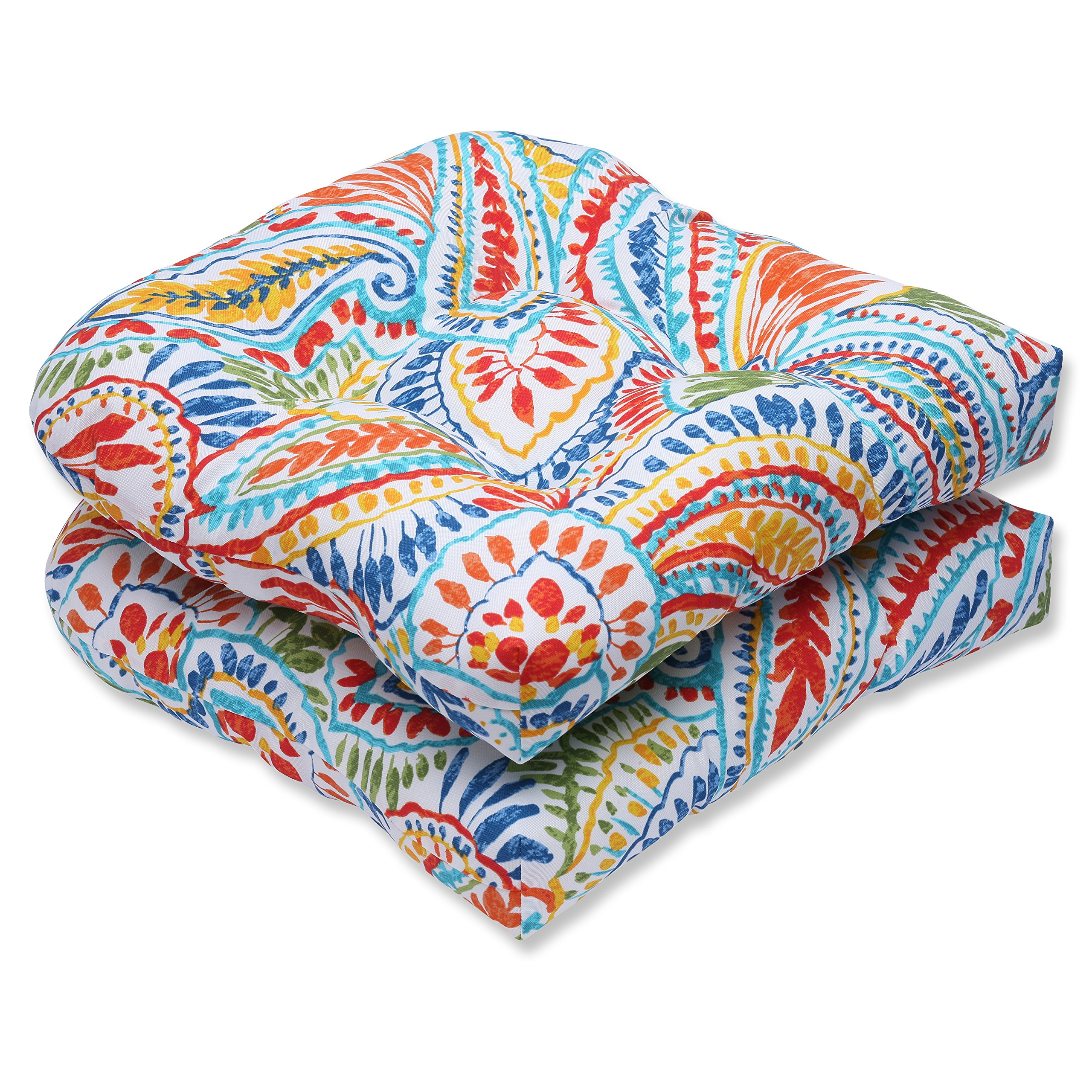 Pillow Perfect Outdoor Ummi Wicker Seat Cushion, Multicolored, Set of 2 by Pillow Perfect (Image #1)