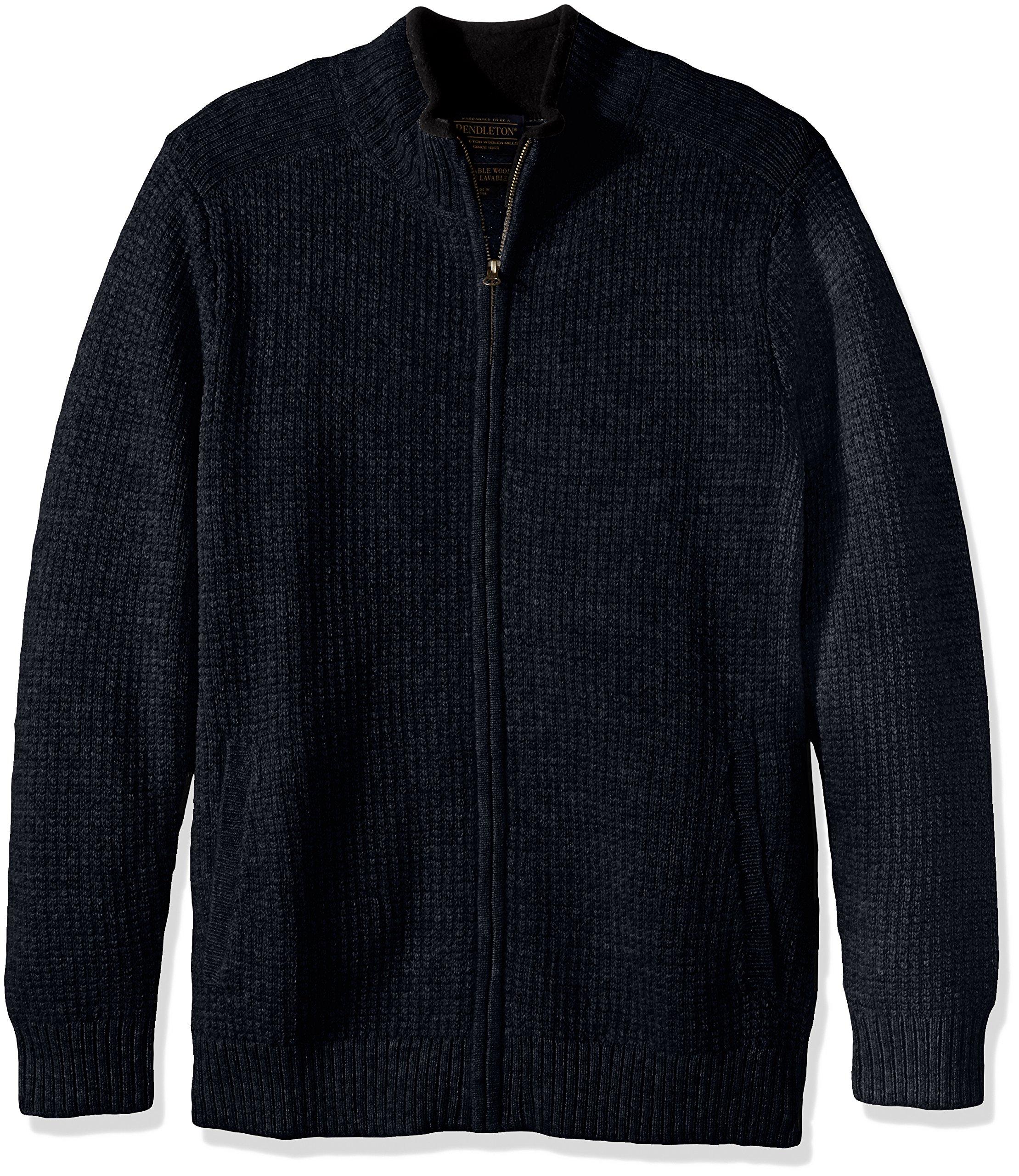 Pendleton Men's Shetland Full-Zip Cardingan Sweater, Indigo Heather-63630, MD