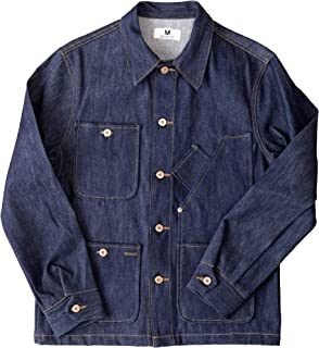 product image for Tellason Stock Made in USA Men's 14 oz Cone Mills White Oak Raw Denim Coverall Jacket Chore Coat