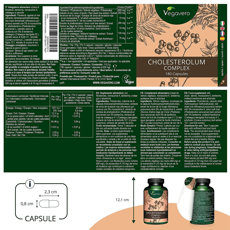 Cholesterolum Complex Vegavero® | Controlar Colesterol + Hígado | Espino Blanco + Levadura Roja de Arroz + Monacolina K + Fitoesteroles + Berberina + ...