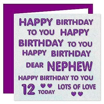 Alles Gute Zum 12 Geburtstag Karte F Uuml R Neffen Lila Amazon