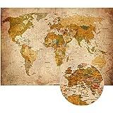 PMP 4life. Vecchia mappa del mondo Look vintage XXL murale in 140cm x 100 cm immagine Decorazione worldmap retro parete HD Poster | Mappa dello schermo antico murale | + Calendario 2018