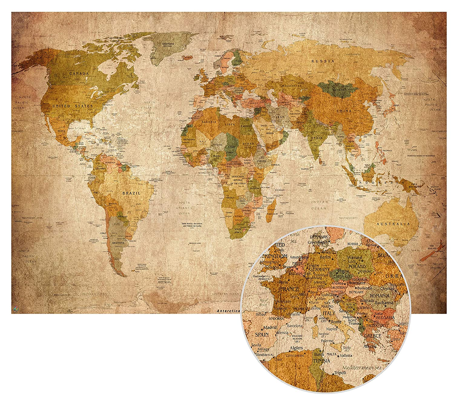 Old World Map in Vintage look XXL Wall Art in HD Poster 140cm x 100 cm  Retro Wall Decoration Worldmap image can be used as a pinboard | Canvas map  ...