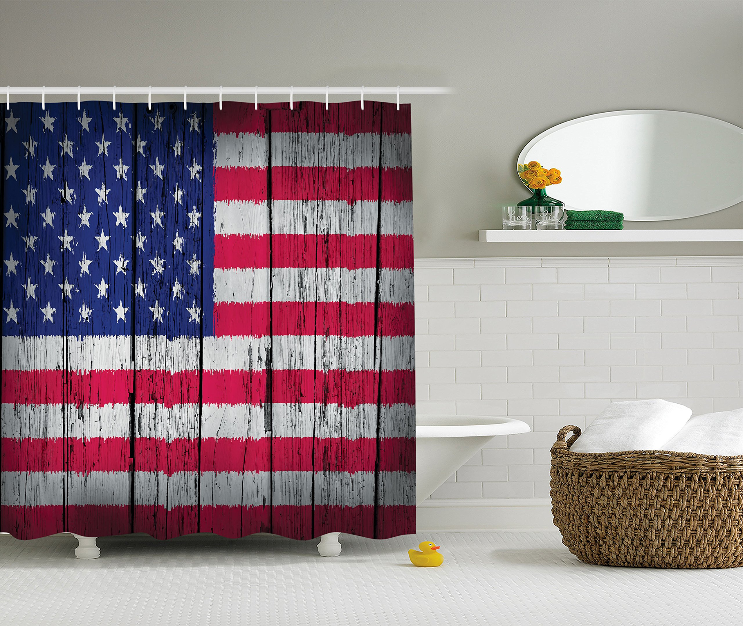 Rustic Decor American Usa Flag Shower Curtain Set By Ambesonne, Fourth Of July Independence Day Grunge Art Aged Hardwood Wooden Wall Looking Art, Bathroom Accessories, 75 Inches Long