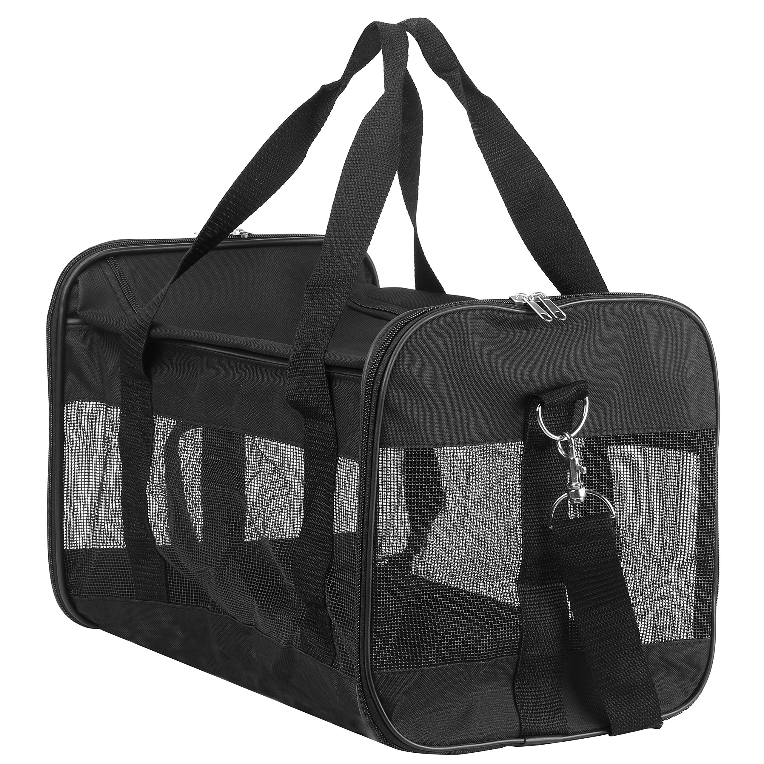 Hiado Pet Carrier Collapsible Soft Sided Travel Bag with Mesh Net Open Top 2 Door for Cats and Small Dogs 17x11x11 Inch Black