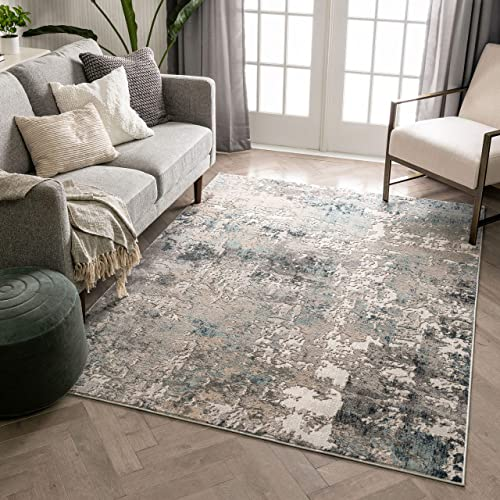 Well Woven Mercer Grey Abstract Distressed Area Rug 8×10 7'10″ x 9'10″