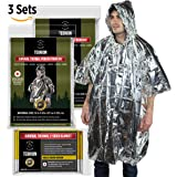 "Emergency Universal Mylar Thermal Raincoat Hoodie and Large 63"" x 82"" Blankets 2 Pack Set - Designed for NASA - Perfect for Emergency First Aid Kit, Bug Out Bag, Survival, Hiking, Auto, or Outdoors"