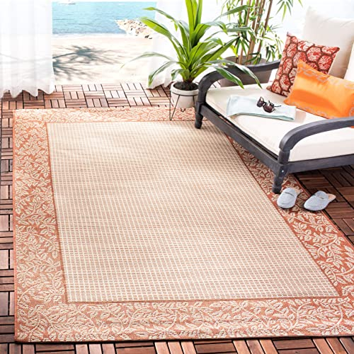Safavieh Courtyard Collection CY0727-3201 Natural and Terra Indoor Outdoor Area Rug 2 x 3 7