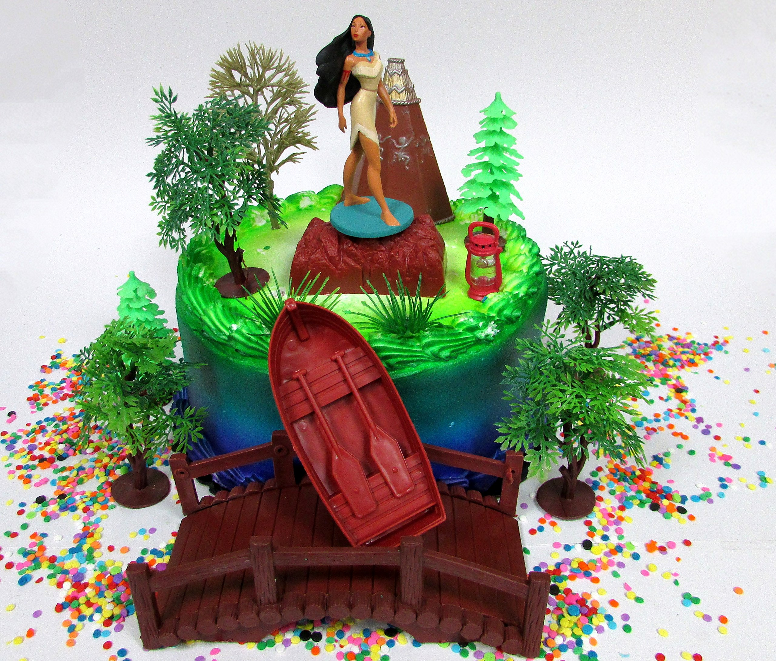 Pocahontas Themed PRINCESS POCAHONTAS Birthday Cake Topper Set Featuring Pocahontas Figure and Decorative Accessories by Cake Toppers (Image #1)
