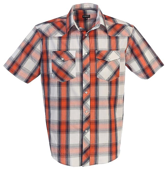 1950s Style Mens Shirts Gioberti Mens Short Sleeve Plaid Western Shirt $22.99 AT vintagedancer.com