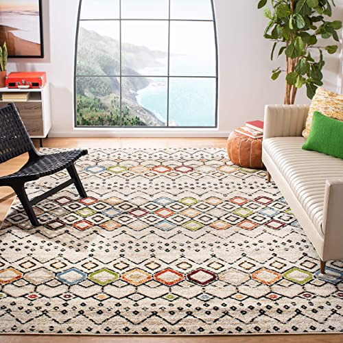 Safavieh Amsterdam Collection AMS108K Southwestern Bohemian Ivory and Multi Area Rug 8 x 10
