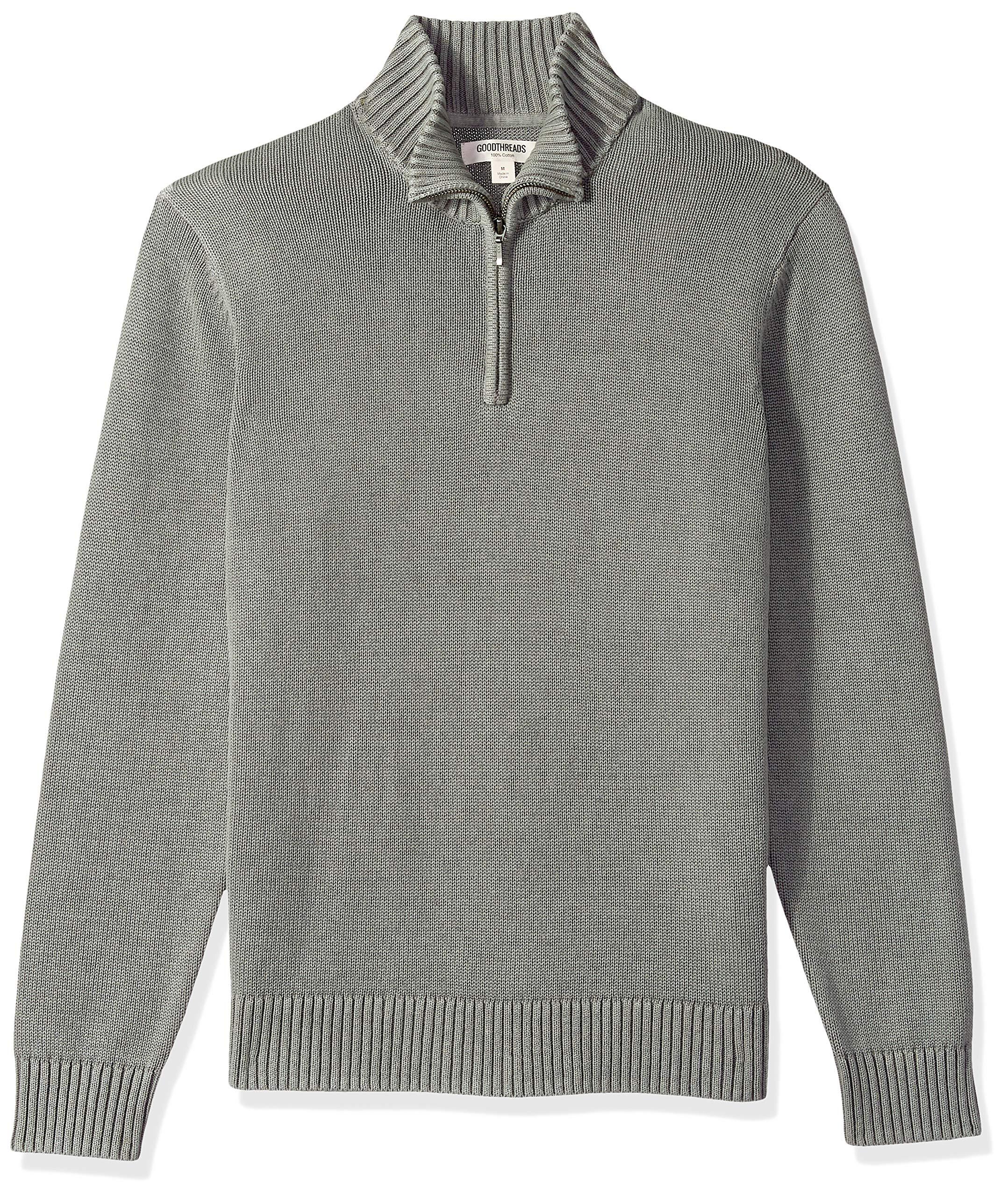 Goodthreads Men's Soft Cotton Quarter Zip Sweater, Washed Grey, X-Large