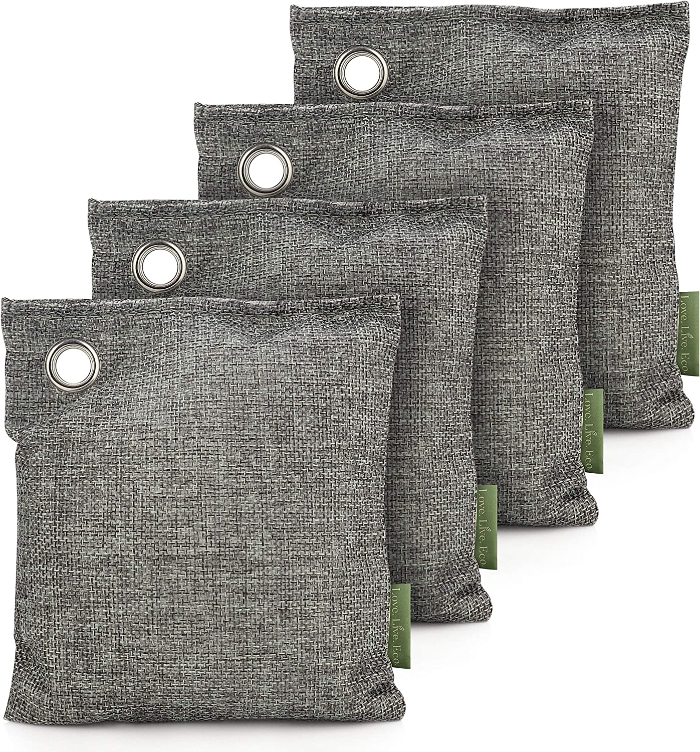 Bamboo Charcoal Air Purifying Bags 4 Pack 200g - Activated Charcoal Odor Eliminator and Moisture Absorber - Natural Air Fresheners for Home - Car Air Fresheners - Shoe Deodorizer - Pet Odor Eliminator