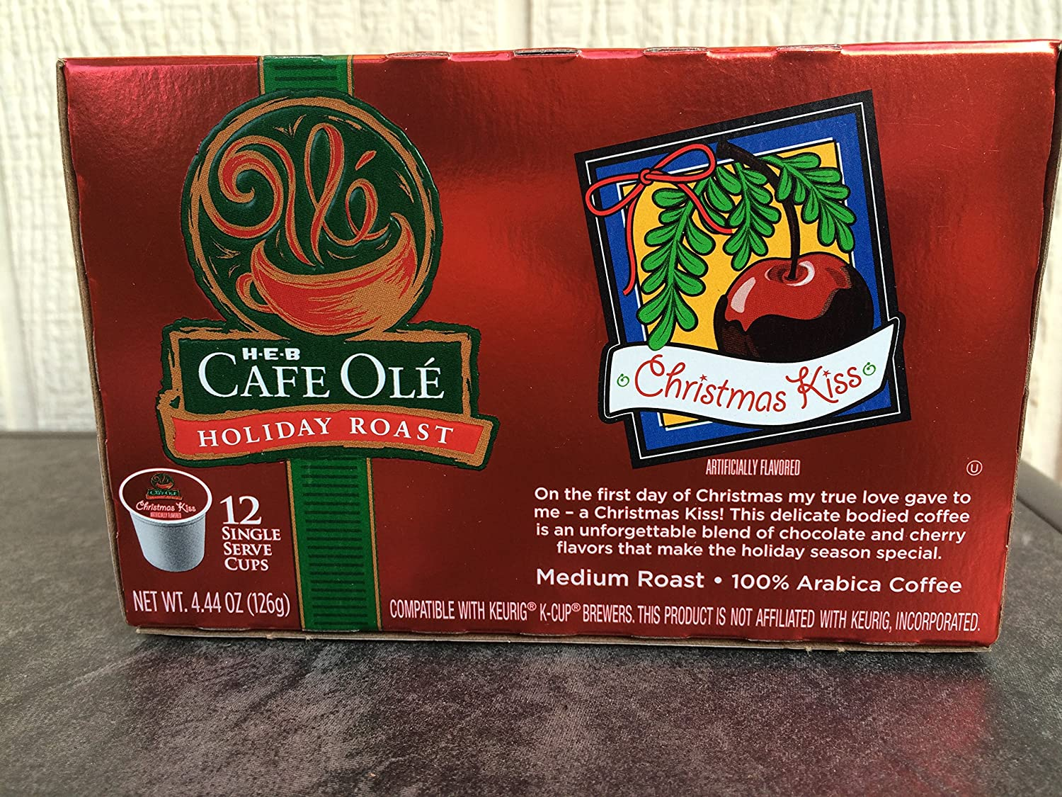 Amazon.com : HEB Cafe Ole Holiday Roast Coffee-Christmas Kiss-12 ...