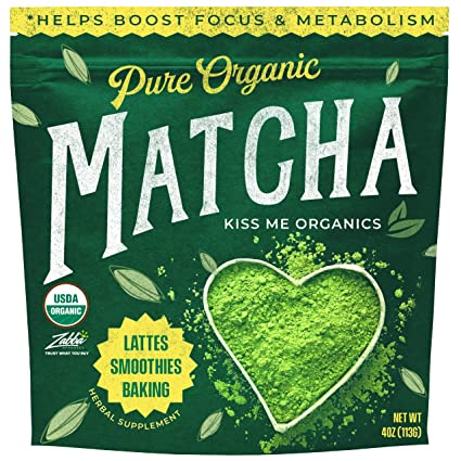 Kiss Me Organics Matcha Green Tea Powder - Organic Japanese Culinary Grade  Matcha - 4 ounces (113 grams): Amazon.com: Grocery & Gourmet Food