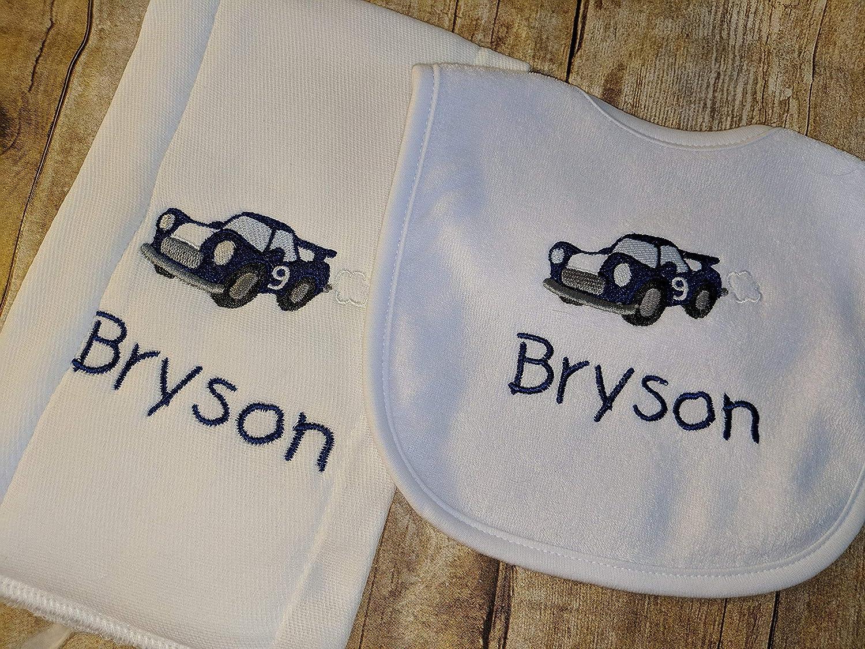 B07DSSDT8B Race Car Baby Personalized Bib and Burp Set A1L9lmdVvRL