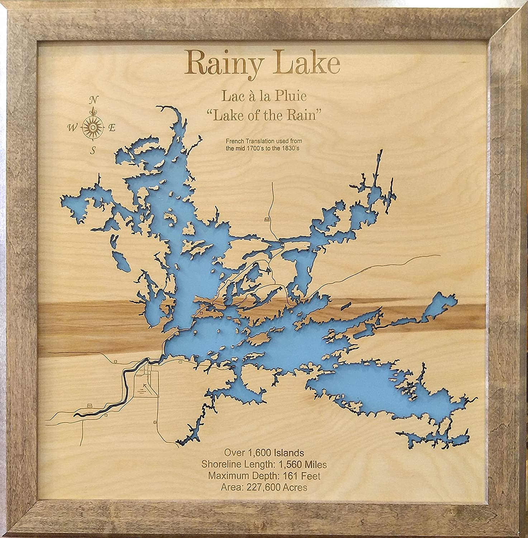 Amazon Com Rainy Lake Minnesota Framed Wood Map Wall
