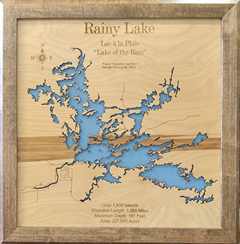 Minnesota Canada Map.Amazon Com Rainy Lake Minnesota Framed Wood Map Wall Hanging Handmade