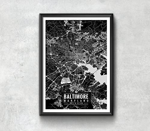 Amazoncom Baltimore Maryland Map with Coordinates Baltimore Map