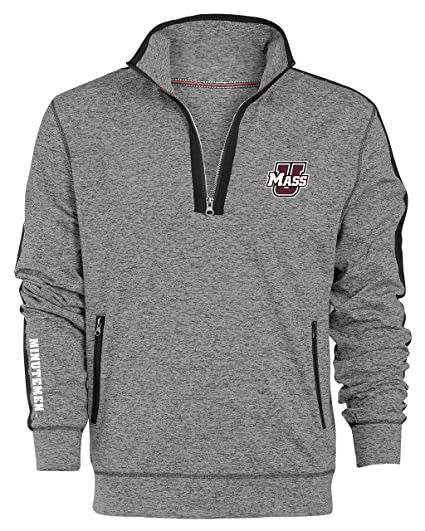 9018e6a83 Camp David NCAA Massachusetts Minutemen Men's Premium Quarter Zip Pullover  Hoodie, Small, Gunpowder