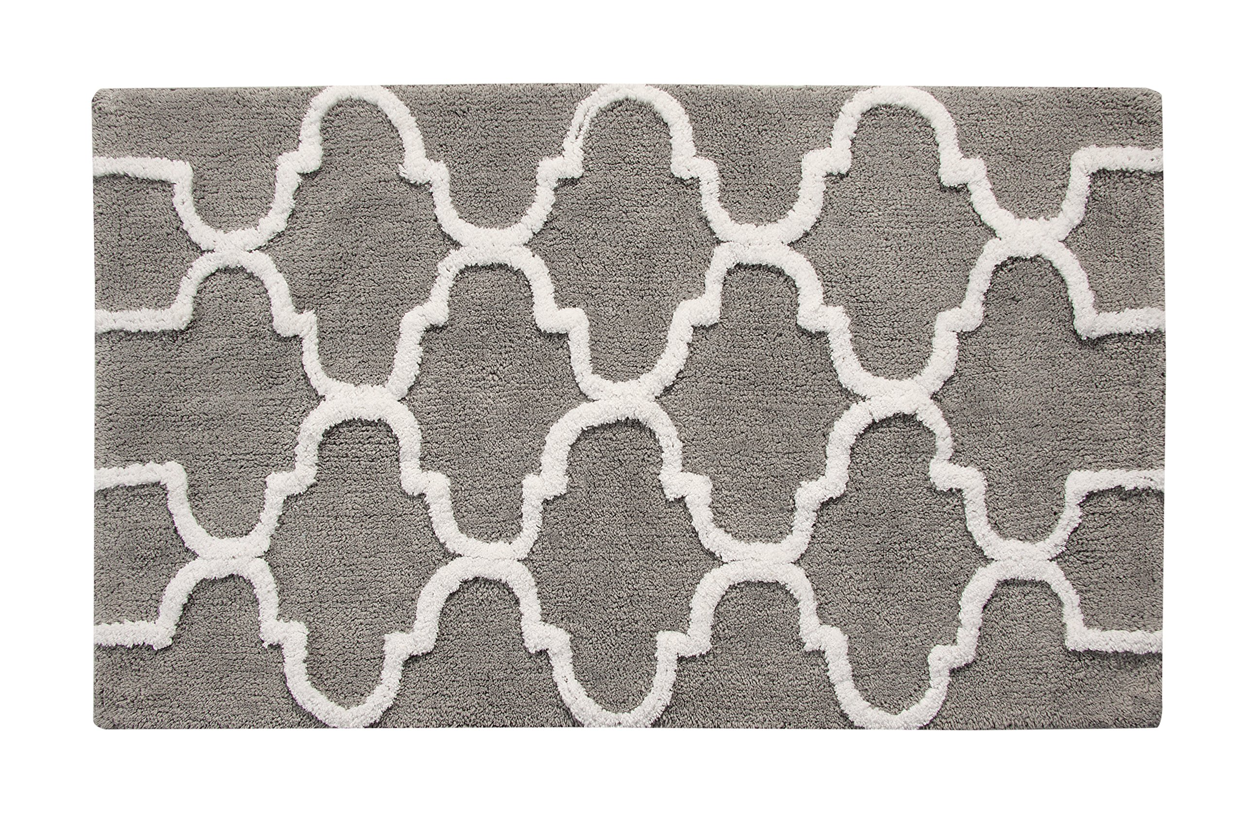 Saffron Fabs Bath Rug 100% Soft Cotton, Size 50x30 Inch, Latex Spray Non-Skid Backing, Grey/White Color, Geometric Pattern, Hand Tufted, Heavy 190 GSF Weight, Machine Washable, Rectangular Shape